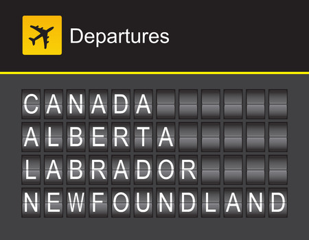 Canada flip alphabet airport departures: Canada, Alberta, Labrador, Newfoundland Illustration