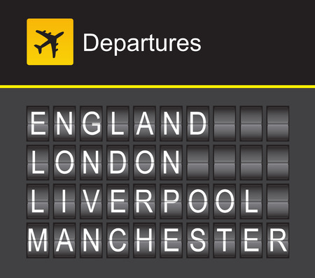 departures: England flip alphabet airport departures: England, London, Liverpool, Manchester