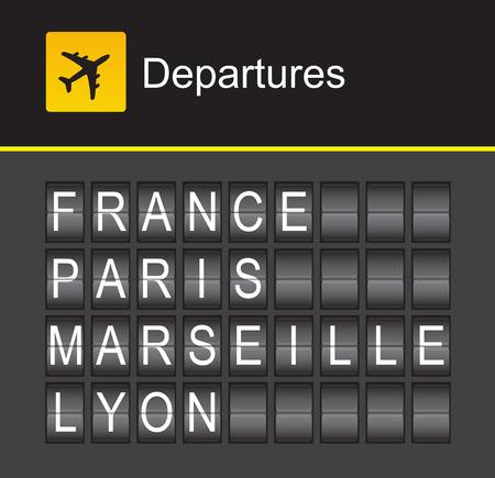 departures: France flip alphabet airport departures: France, Paris, Marseille, Lyon