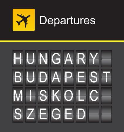 szeged: Hungary flip alphabet airport departures, Hungary, Budapest, Miskolc, Szeged