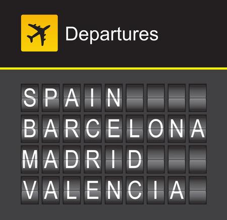 barcelona: Spain flip alphabet airport departures, Spain, Barcelona, Madrid, Valencia