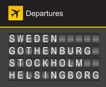 departures: Sweden flip alphabet airport departures, Sweden, Gothenburg, Stockholm, Helsingborg