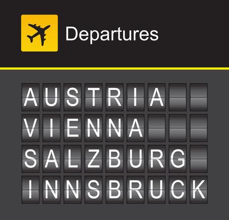 innsbruck: Austria flip alphabet airport departures, Vienna, Salzburg, Innsbruck
