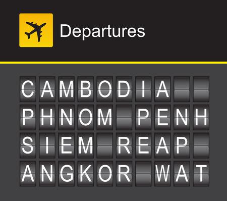 departures: Cambodia flip alphabet airport departures, Cambodia, Phnom Penh, Siem Reap, Angkor Wat
