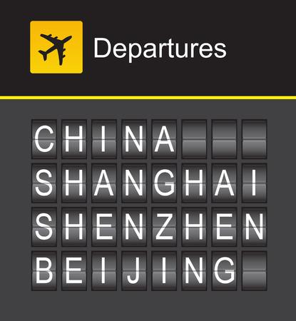 shanghai china: China flip alphabet airport departures, China, Shanghai, Shenzhen, Beijing