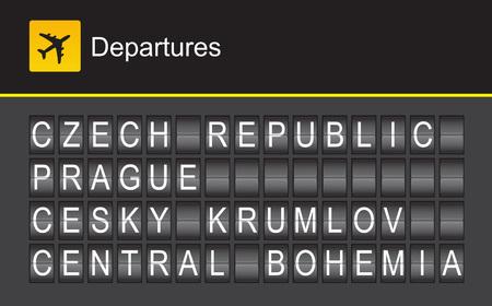 Czech Republic flip alphabet airport departures, Prague, Cesky Krumlov, Central Bohemia Illustration