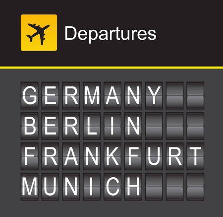 frankfurt germany: Germany flip alphabet airport departures, Berlin, Frankfurt, Munich