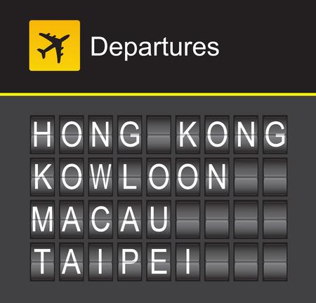 departures: Hong Kong flip alphabet airport departures, Hong Kong, Kowloon, Macau, Taipei