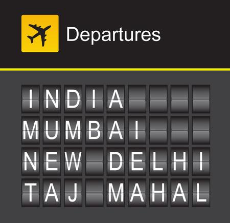 departures: India flip alphabet airport departures, India, Mumbai, New Dehli, Tal Mahal