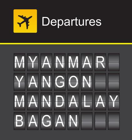 departures: Myanmar flip alphabet airport departures, Myanmar, Yangon, Mandalay, Bagan Illustration