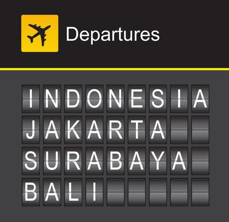departures: Indonesia flip alphabet airport departures, Indonesia, Jakarta, Surabaya, Bali