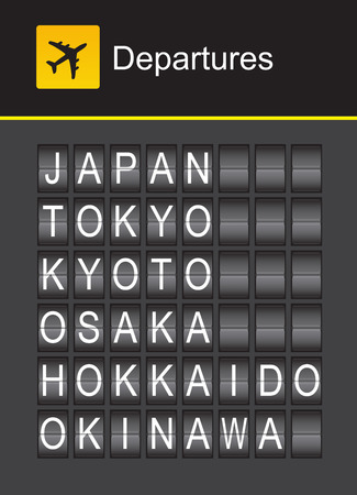 hokkaido: Japan flip alphabet airport departures, Japan, Tokyo, Kyoto, Osaka, Hokkaido, Okinawa