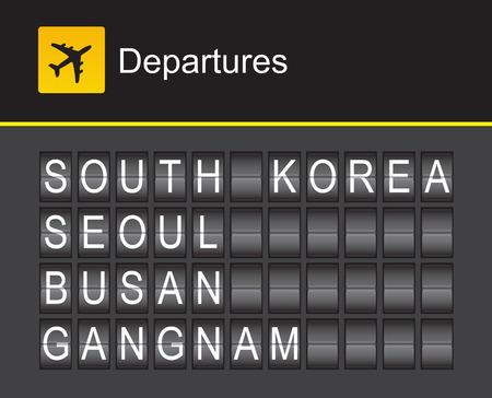 gangnam: South Korea flip alphabet airport departures, South Korea, Seoul, Busan, Gangnam
