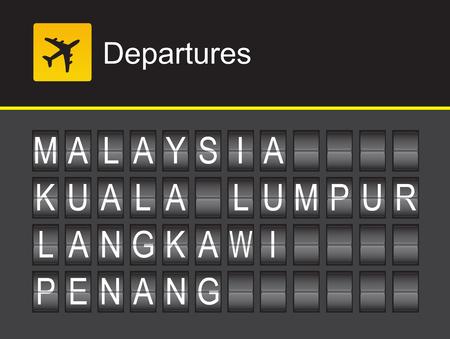 말레이시아 출발, 말레이시아 플립 알파벳 공항, 쿠알라 룸푸르, Penung, 랑카위 일러스트
