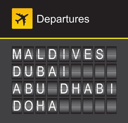 doha: flip alphabet airport departures, Maldives, Dubai, Abu Bhabi, Doha Illustration