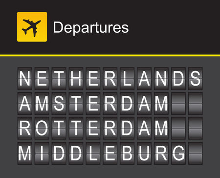 departures: Netherlands flip alphabet airport departures, Amsterdam, Rotterdam, Middleburg Illustration