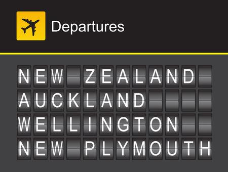 departures: New Zealand flip alphabet airport departures, New Zealand, Auckland, Wellington, New Plymouth