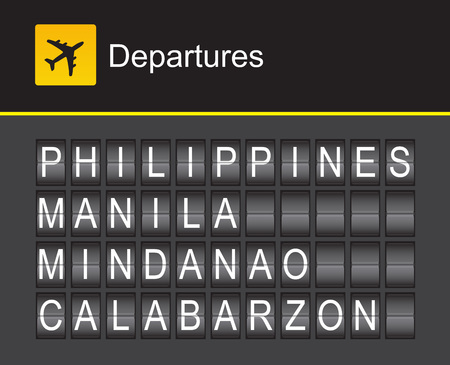 departures: Philippines flip alphabet airport departures, Philippines, Manila, Mindanao, Calabarzon