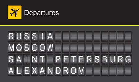 departures: Russia flip alphabet airport departures, Moscow, Saint Petersburg, Alexandrov Illustration