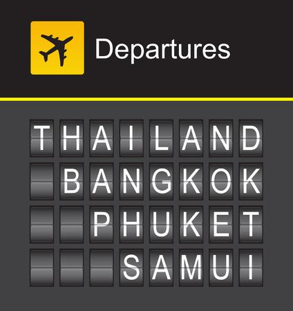 samui: Thailand departures, Thailand flip alphabet airport, Thailand, Bangkok, Phuket, Samui