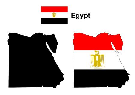 bandera de egipto: Egipto mapa vectorial, bandera de Egipto del vector