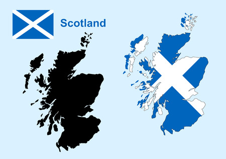 Schottland-Karte Vektor, Scotland Flag vector Standard-Bild - 39366057