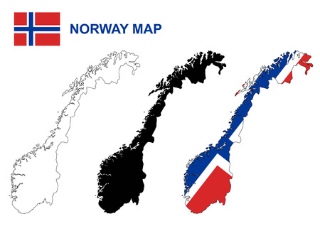 노르웨이지도 벡터, 노르웨이 플래그 벡터 일러스트