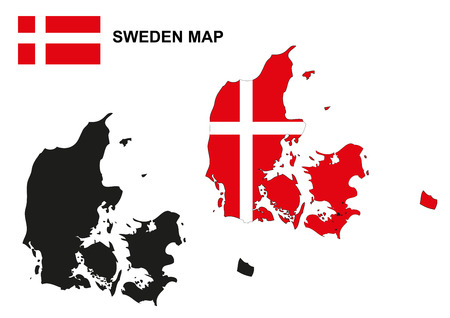 denmark flag: Denmark map vector, Denmark flag vector, Denmark vector Illustration
