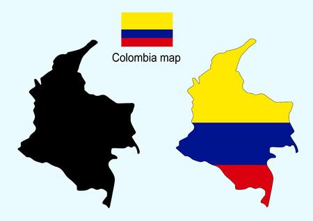 bandera de colombia: Colombia mapa vectorial, bandera de Colombia vectorial