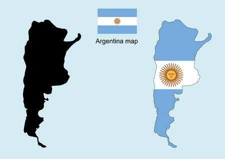 bandera argentina: Argentina mapa vectorial, Argentina bandera vector