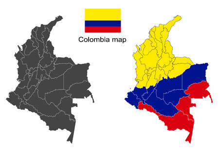 Colombia map vector, Colombia flag vector