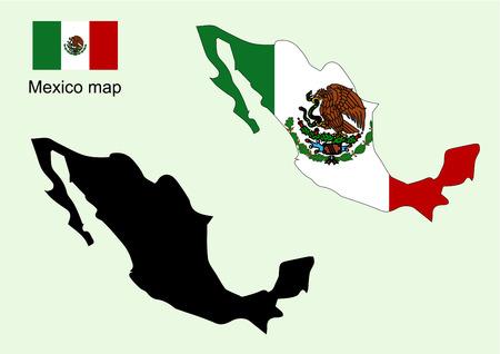Mexico map vector, Mexico flag vector