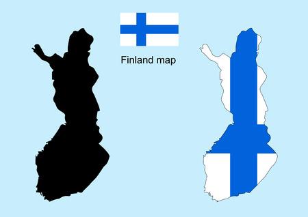 Finland map vector, Finland flag vector