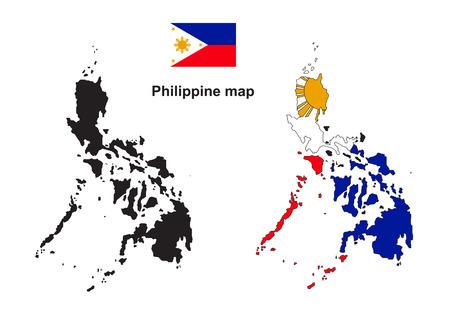 필리핀지도, 필리핀 플래그 벡터 일러스트