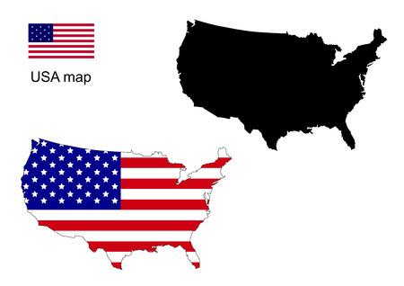 USA kaart vector, USA vlag vector
