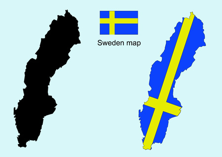 sweden map: Sweden map vector, Sweden flag vector Illustration