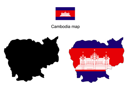 cambodian: Cambodia map, Cambodia flag vector
