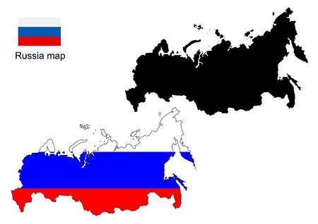 russland karte: Russland Karte Vektor, Russland-Flagge Vektor