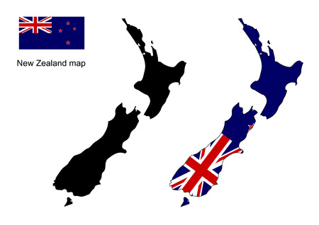 new zealand: New Zealand map, New Zealand flag vector Illustration
