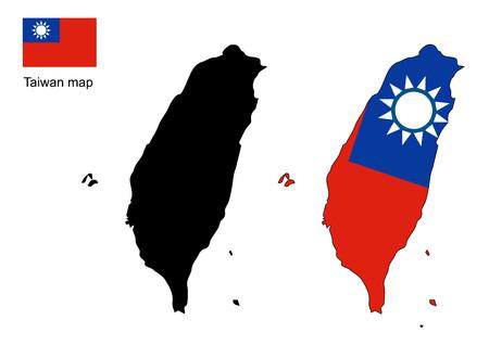 Taiwan carte vecteur, drapeau Taiwan vecteur