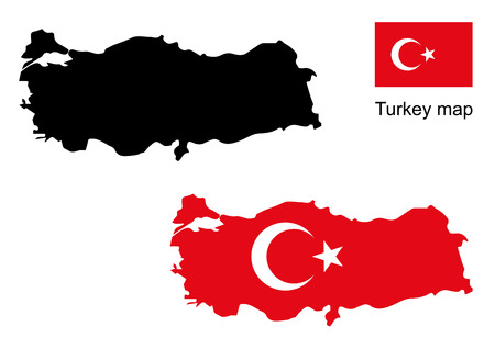 turkey map vector, turkey flag vector