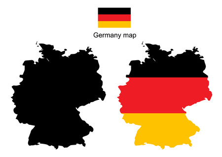 bandera alemania: Mapa vectorial Alemania, bandera de Alemania del vector Vectores