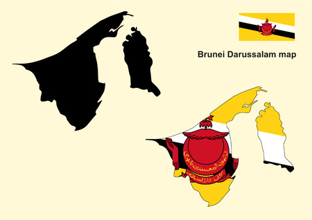 map of brunei: Brunei map vector, Brunei Darussalam map and flag vector