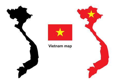 vietnam: Vietnam map vector, Vietnam flag vector
