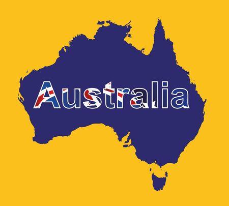 tasmania: Australia map in blue color and yellow background, australia map vector, map vector
