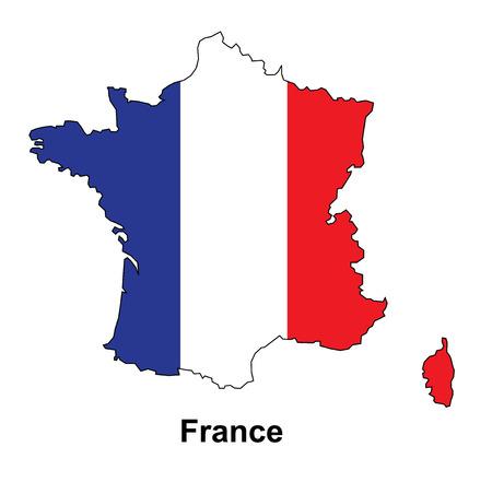 フランス地図ベクトル、ベクトル マップ内の旗フランス地図