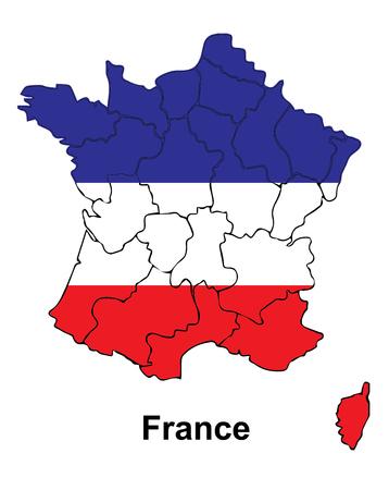 innen: Frankreich-Karte mit Fahne innerhalb, Frankreich-Karte Vektor, Vektor-Karte