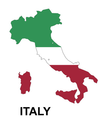black outline: Italy map with flag inside, italy map vector, map vector Illustration