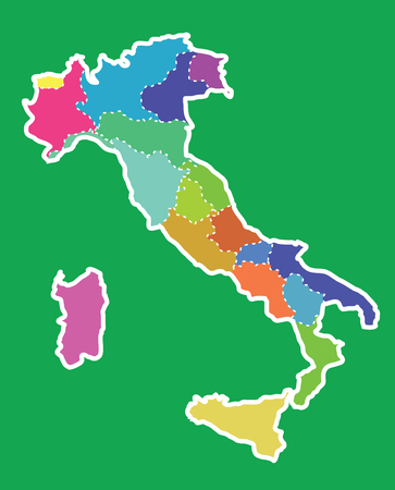 Italy colorful map in green background, italy map vector, map vector
