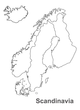 Mapa Skandynawii na białym tle, Skandynawia mapy wektorowe, mapy wektorowe
